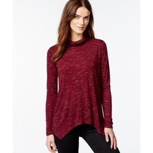 Kensie maroon cabernet long sleeve turtleneck top